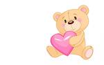 Обои Мишка с розовым сердцем