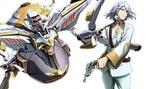 Обои A-Drei / А-Дрей с пистолетами на фоне боевого робота из аниме Valvrave the Liberator / Kakumeiki Valvrave / Валврейв Освободитель