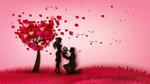 Обои Мужчина с букетом цветов стоит перед девушкой, преклонив колено на фоне дерева из сердец и летящих белых птиц в розовом небе