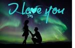 Обои Парень стоит на колене перед девушкой, держа ее руку, на фоне северного сияния, (I love you / я люблю тебя)