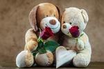 Обои Плюшевые собака и медвежонок держат в лапах красные розы на фоне сердечка, by Myriam Zilles