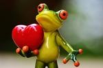 Обои Фигурка лягушонка с красным сердечком в лапке, by Alexas_Fotos