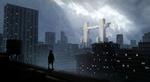 Обои Человек в плаще стоит на крыше дома фантастического города, посреди которого возвышаются врата