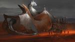 Обои Рыцари вокруг запряженной кареты остановились рядом с огромным белым крылатым драконом в ночной пустыне
