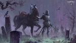 Обои Рыцарь в латах с конем стоит по стеди заброшенного кладбища и зомби вылезающие из тумана, игра Grim Souls