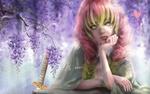 Обои Грустная девушка смотрит на белую змею, ползущую по ветке цветущего дерева, by tutu