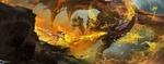Обои Девушка-воин в бою против огнедышащего дракона, by dongbiao lu