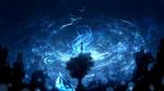 Обои Девочка стоит на макушке дерева, растущего посреди руин, на фоне ночного неба, by furi