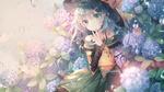 Обои Komeiji Koishi / Койши Комейдзи стоит под проливным дождем возле кустов цветущих гортензий, персонаж из серии компьютерных игр Touhou Project / «Проект «Восток»», art by Rokusai