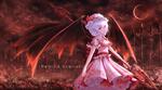 Обои Remilia Scarlet / Ремилия Скарлет с кровавым копьем в руке, персонаж из серии компьютерных игр Touhou Project / «Проект «Восток»», art by Niuy