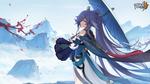 Обои Fu Hua / Фу Хуа держа зонт в одной руке тянется второй к веточке цветущей сакуры, персонаж из мобильной игры Honkai Impact 3