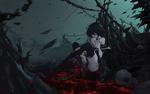 Обои Seele Vollerei с силой сжимает в руках череп прикоснувшись к нему губами, персонаж из мобильной игры Honkai Impact, art by Asa Ni Haru