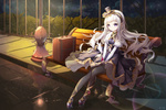 Обои Девушка сидит на скамье возле фонаря, оригинальный персонаж художника Asa Ni Haru