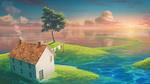 Обои Домик на зеленеющем островке, by monorisu