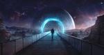 Обои Мужчина идет по мосту ко входу в планете, где видно заброшенное здание, by Eric Hallquist
