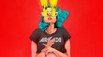 Обои Девушка с голубыми волосами, из глаз которой бьют световые лучи, by Bruno Ferreira (ARCADE)