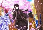 Обои Kirito / Кирито, Alice / Алиса и Eugeo / Юджио арт персонажей из аниме Sword Art Online Alicization / Мастера Меча Онлайн Алисизация