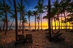 Обои Шезлонги на пустом тропическом пляже с пальмами на рассвете, by Valentin Valkov