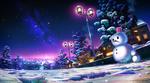 Обои Снеговик с маленьким снеговиком стоят у заснеженной дороги с горящими городскими фонарями, by monorisu