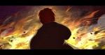 Обои Мужчина на фоне огня, арт по игре Honkai Impact 3, by Rafa