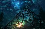 Обои Железная конструкция в лучах заходящего солнца под звездным небом с планетой