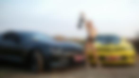 Обои Блондинка с бюстгалтером в руке топлес стоит на природе на фоне двух авто Chevrolet Camaro, фотограф Александр Исаев