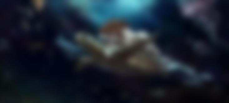 Обои Обнаженная девушка на огромной черепахе под водой среди рыб, by Malabra