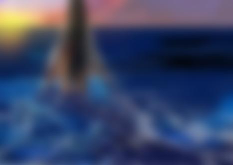 Обои Обнаженная девушка-ангел стоит в море на фоне закатного неба, by clover