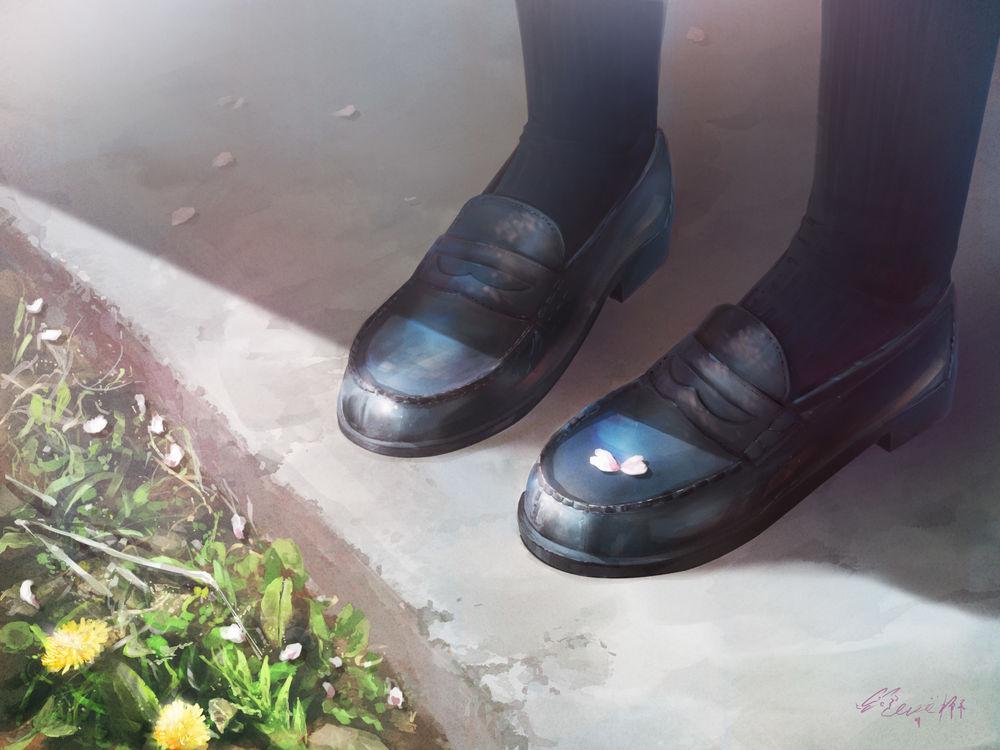 Обои для рабочего стола Цветок сакуры на туфле девушки