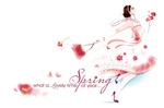 Обои Счастливая девушка с цветами на белом фоне (Spring. whot a lovely time of year / Весна. какое прекрасное время года), by BreeLeman