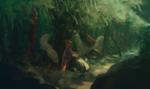 Обои Сувако Мория / Suwako Moriya из аниме игры Проект Восток / Touhou Project с огромной змеей в лесу