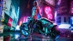 Обои Девушка Cyberpunk 2077 в шлеме стоит ночью у байка на городской площади