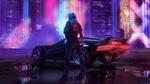 Обои Девушка Cyberpunk 2077 в короткой кожаной куртке с пистолетом стоит около машины на мигающей рекламы и небоскребов