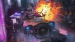 Обои Девушки Cyberpunk 2077 уходят от погони полицейских на космическом летающим автомобиле взрывая одну машину из гранатомета