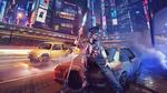 Обои Девушка киборг с копьем и виртуальных очках сидит на капоте летающего авто на фоне большого города с рекламой