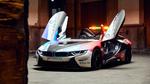 Обои Электрический гоночный авто BMW i8 Roadster Safety Car в помещении