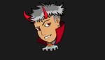 Обои Демон с красными рогами на темном фоне
