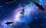 Обои Девушка на фоне китов в космосе, by adsuger