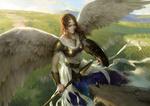 Обои Девушка-ангел парит над землей из игры Clash Of Wonders, by Senfeng Chen