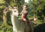 Обои Королева эльфов сидит на фэнтезийном животном, арт к игре Clash Of Wonders, by Senfeng Chen