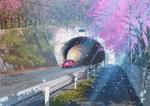 Обои Розовое авто на дороге перед тоннелем