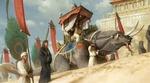 Обои Принцесса с музыкальным инструментом в руках едет верхом на ящере среди своей свиты, by Senfeng Chen