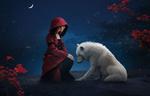 Обои Девушка в одежде красной шапочки и белый волк на фоне деревьев и луны
