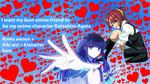 Обои Обои персонажи аниме тидори такаширо из аниме кизнайвер / kiznaiver и миюки шиба / miyuki shiba из аниме непутевый ученик в школе магии / Mahouka Koukou no Rettousei на голубом фоне с сердцами и надписями (I want my best anime friend to be my anime character Katsuhiro Agata / я хочу чтобы моя лучшая подруга по аниме была моим аниме персонажем кацухиро агатой, Ryota amaya + Aiki aisi = kiznaiver love / риота амайя + айки айси = кизнайверская любовь)