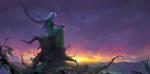 Обои Белокурая девушка-демон в зеленом платье сидит на верхушке старого дерева и смотрит на восход солнца, by kevin hou
