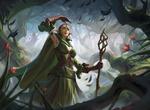 Обои Эльфийка Nissa Revane / Нисса Реван из игры Magic: The Gathering в лесу, by Leo Av