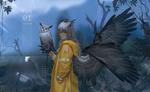 Обои Девушка-сова в желтом плаще стоит около деревьев и держит на руке сову, by F om
