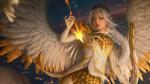 Обои Девушка-ангел Keyria Amaryth с огненной стрелой, by Ina Wong