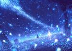 Обои Девушка стоит в поле ночью среди магического свечения