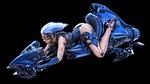 Обои Девушка на космическом мотоцикле на черном фоне, автор Sengjoon Song